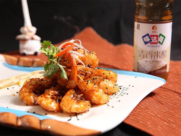 烹米醋元宝虾